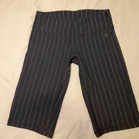 Lululemon baseball pinstripe style bike shorts
